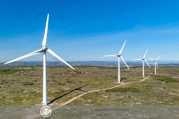 Photo en drone éoliennes - Aude